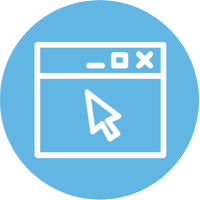blue icon of an application screen and mouse pointer