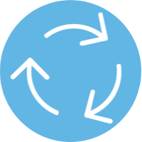 blue icon of arrows going in a circle
