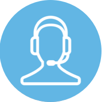 blue circle icon, person on headset