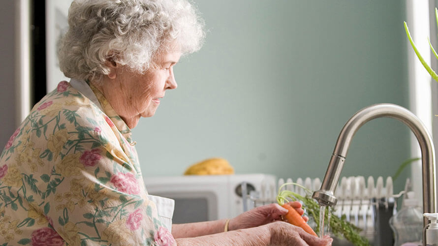 Senior citizen washing vegetables at kitchen sink
