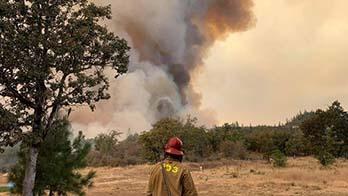 Back of firefighter walking towards smoke filled sky