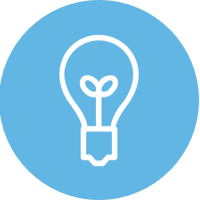 blue circle icon with light bulb