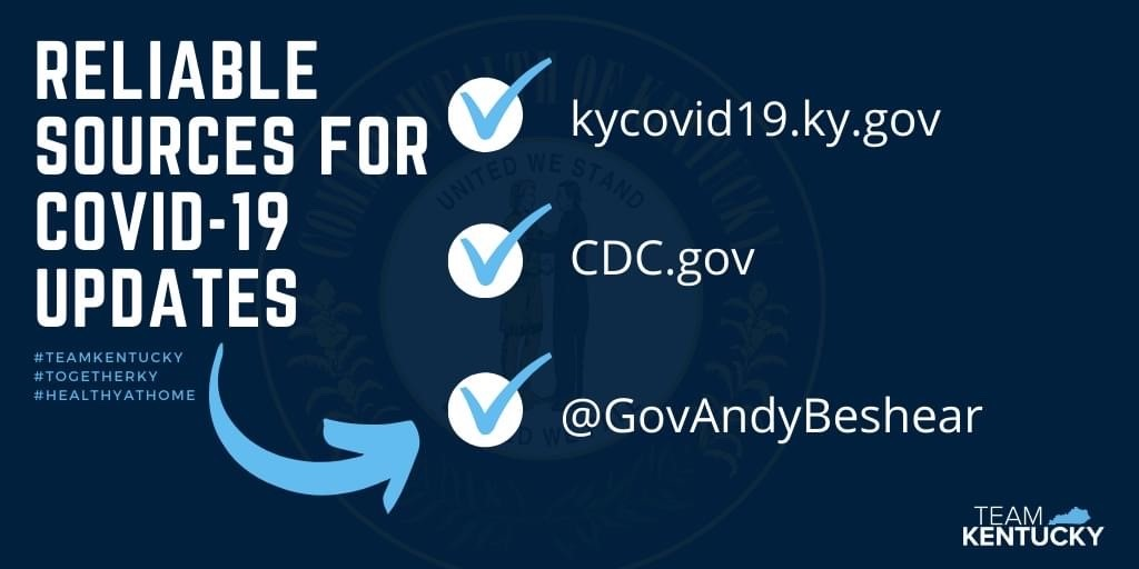 three critical steps to address covid-19 in Kentucky. 1, Social Distancing. 2, Increase Health Care Capacity. 3, Increase Testing