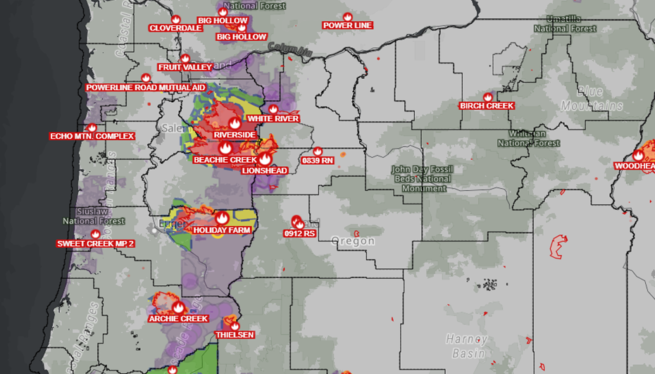 Map of Oregon fires