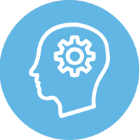 blue circle icon - outline of human head with gears inside