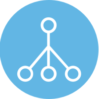 blur circle icon, chain of command depicted as circles and lines
