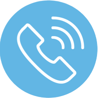 blue icon of phone ringing